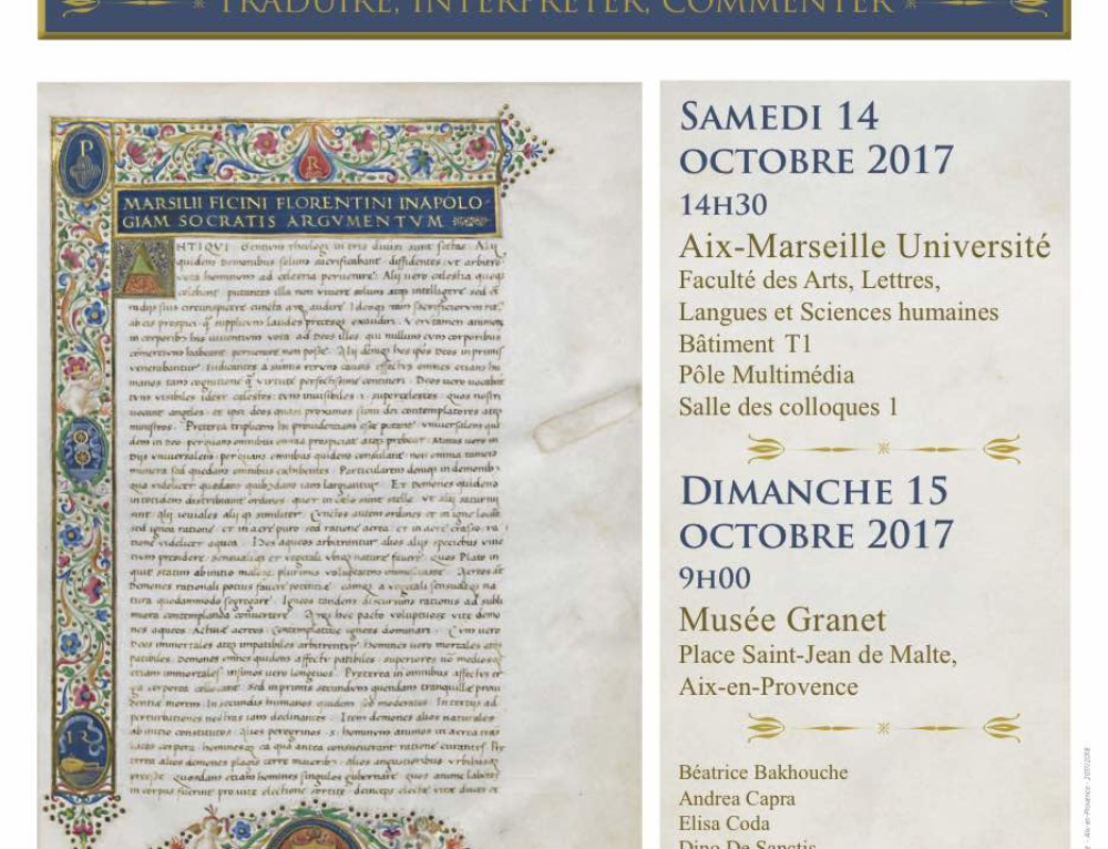 """Journée d'étude : """"Platon et les traditions platoniciennes : traduire, interpréter, commenter"""" (Aix-en-Provence)"""